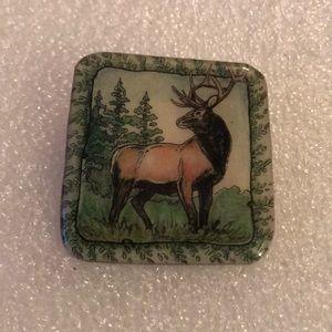 Enamel square brooch